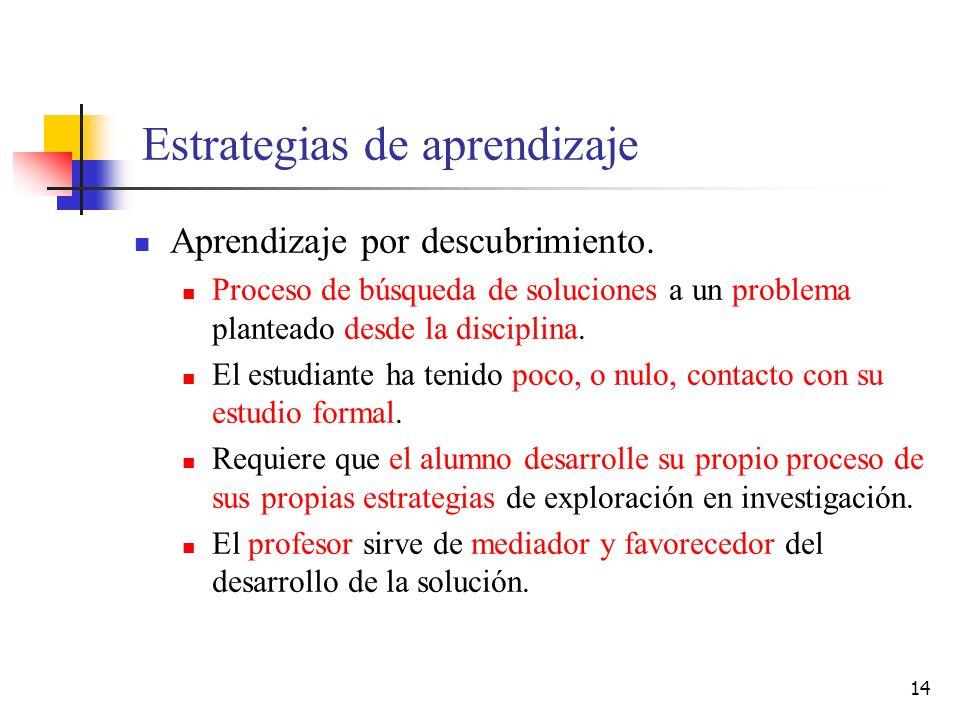 14 Estrategias de aprendizaje Aprendizaje por descubrimiento. Proceso de búsqueda de soluciones a un problema planteado desde la disciplina. El estudi