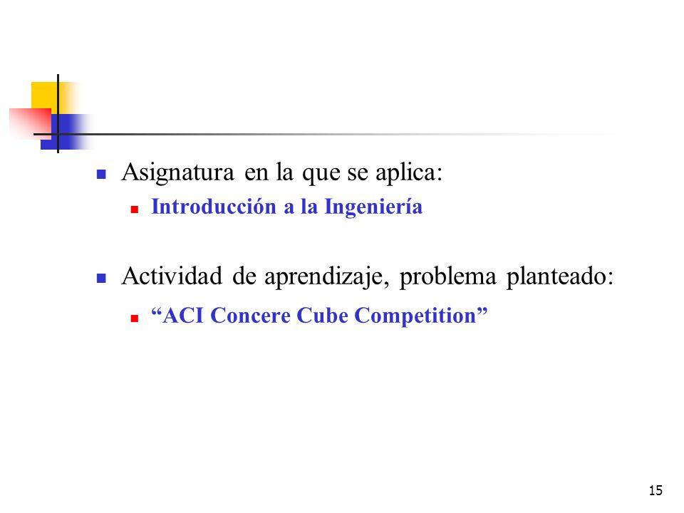 15 Asignatura en la que se aplica: Introducción a la Ingeniería Actividad de aprendizaje, problema planteado: ACI Concere Cube Competition