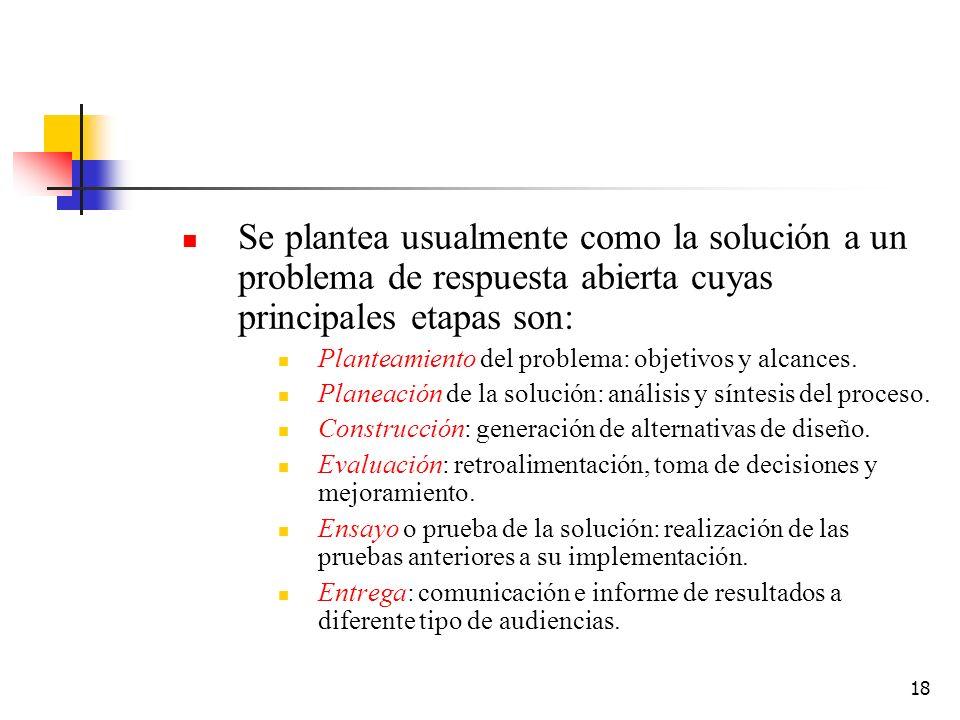 18 Se plantea usualmente como la solución a un problema de respuesta abierta cuyas principales etapas son: Planteamiento del problema: objetivos y alc
