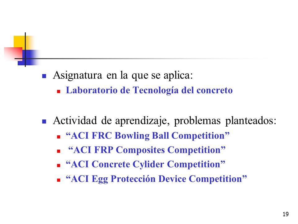 19 Asignatura en la que se aplica: Laboratorio de Tecnología del concreto Actividad de aprendizaje, problemas planteados: ACI FRC Bowling Ball Competi
