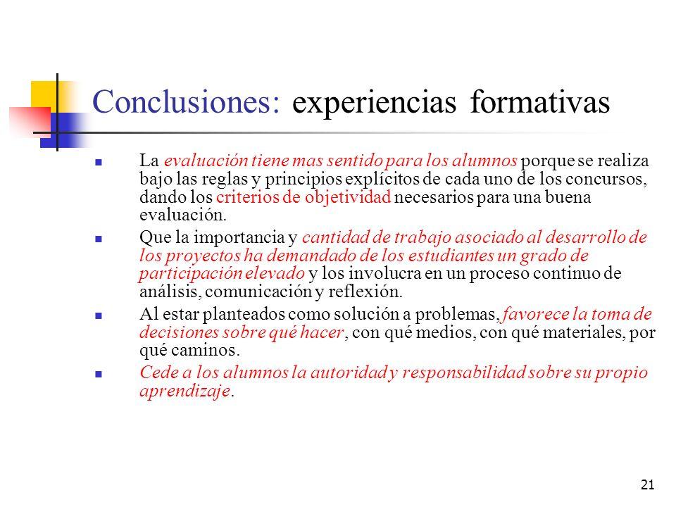 21 Conclusiones: experiencias formativas La evaluación tiene mas sentido para los alumnos porque se realiza bajo las reglas y principios explícitos de