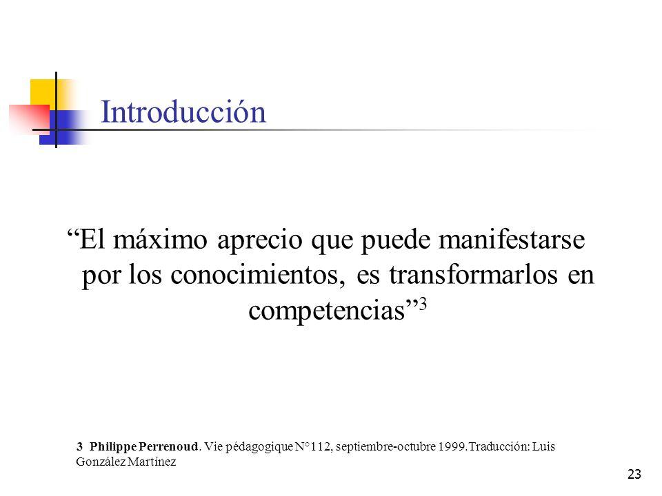 23 Introducción El máximo aprecio que puede manifestarse por los conocimientos, es transformarlos en competencias 3 3 Philippe Perrenoud. Vie pédagogi