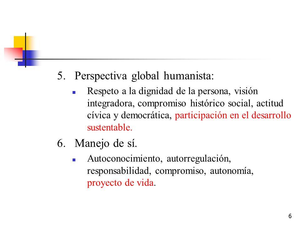 6 5.Perspectiva global humanista: Respeto a la dignidad de la persona, visión integradora, compromiso histórico social, actitud cívica y democrática,