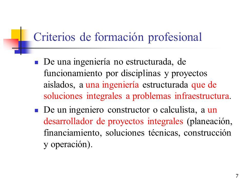 7 Criterios de formación profesional De una ingeniería no estructurada, de funcionamiento por disciplinas y proyectos aislados, a una ingeniería estru
