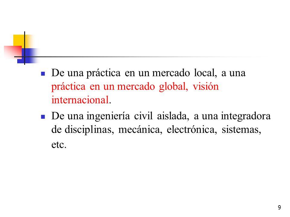 9 De una práctica en un mercado local, a una práctica en un mercado global, visión internacional. De una ingeniería civil aislada, a una integradora d