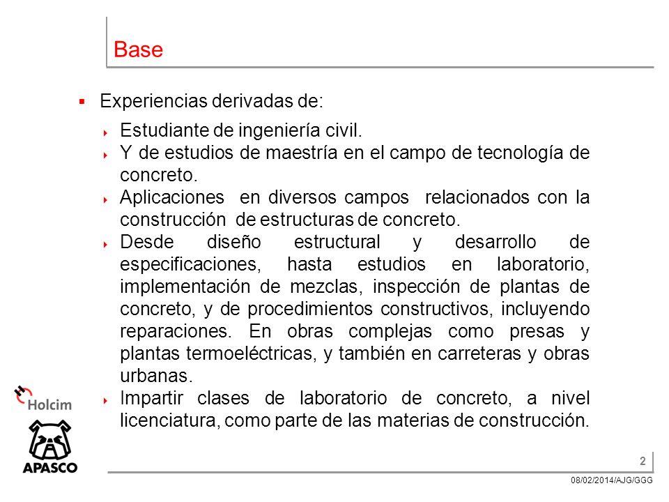 2 08/02/2014/AJG/GGG Base Experiencias derivadas de: Estudiante de ingeniería civil.