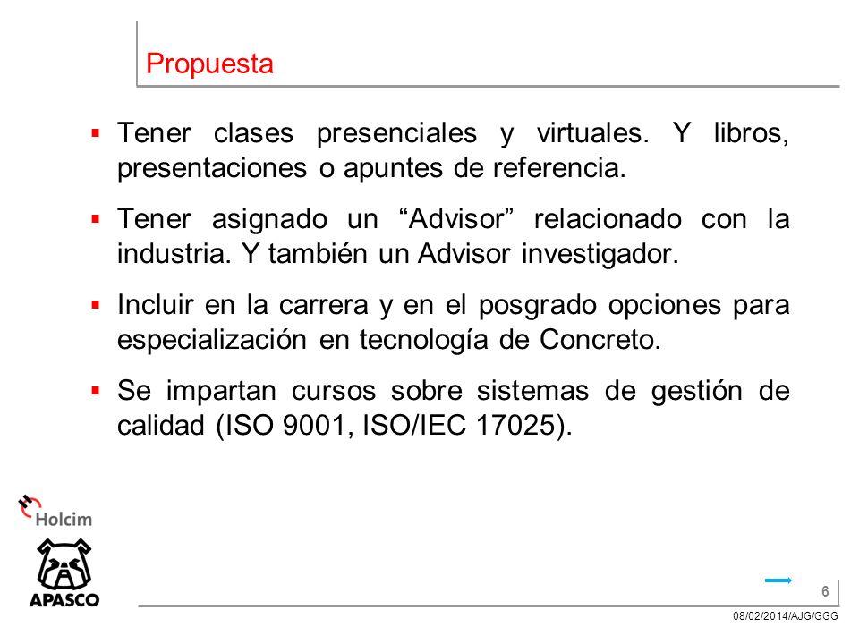 6 08/02/2014/AJG/GGG Propuesta Tener clases presenciales y virtuales.