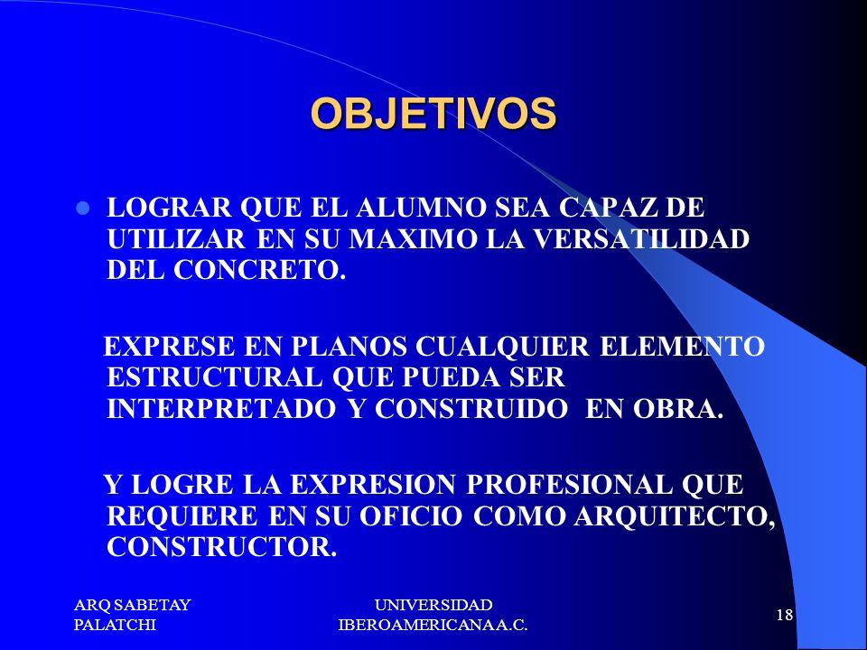 ARQ SABETAY PALATCHI UNIVERSIDAD IBEROAMERICANA A.C.