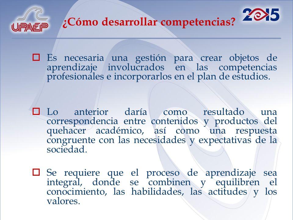 ¿Cómo desarrollar competencias? Es necesaria una gestión para crear objetos de aprendizaje involucrados en las competencias profesionales e incorporar