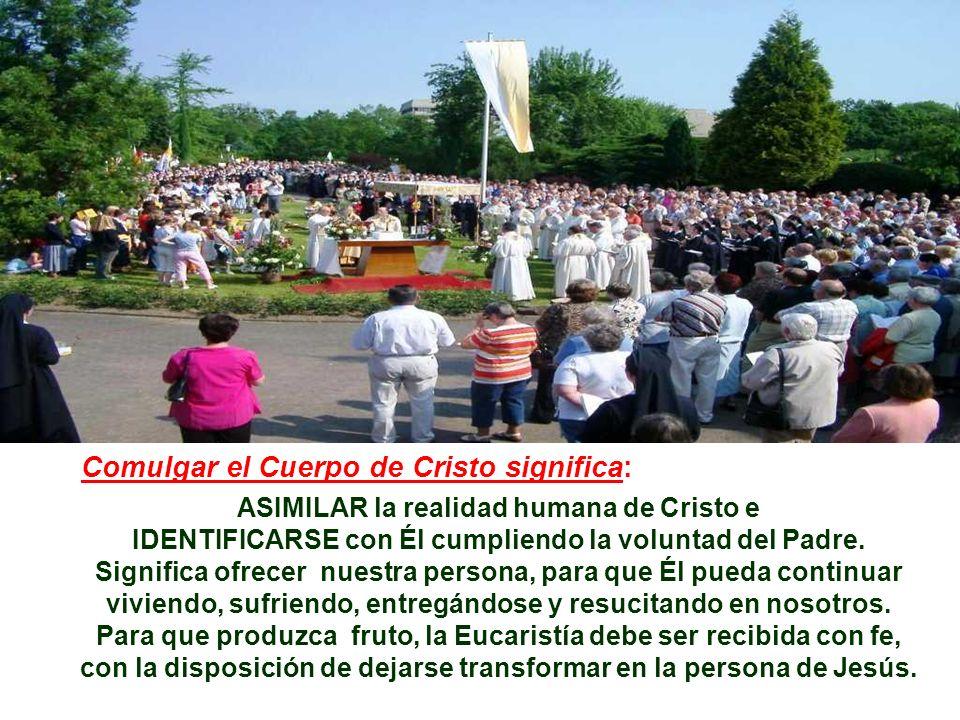 Comulgar el Cuerpo de Cristo significa: ASIMILAR la realidad humana de Cristo e IDENTIFICARSE con Él cumpliendo la voluntad del Padre.
