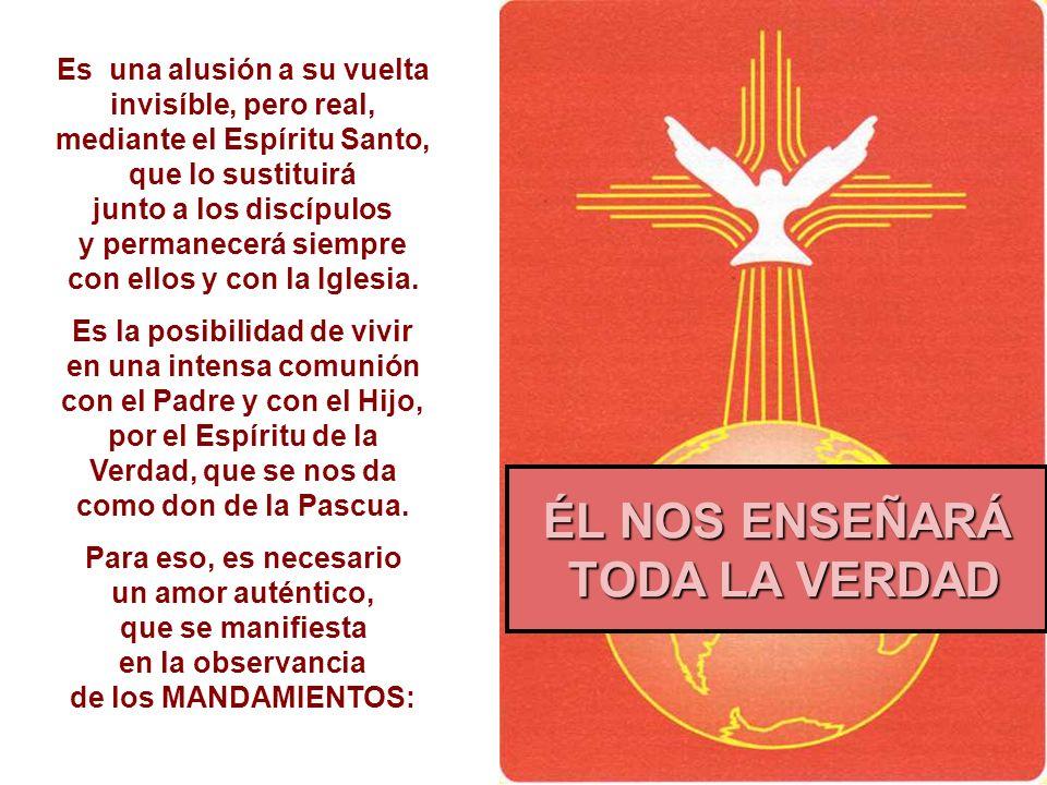 Es una alusión a su vuelta invisíble, pero real, mediante el Espíritu Santo, que lo sustituirá junto a los discípulos y permanecerá siempre con ellos y con la Iglesia.