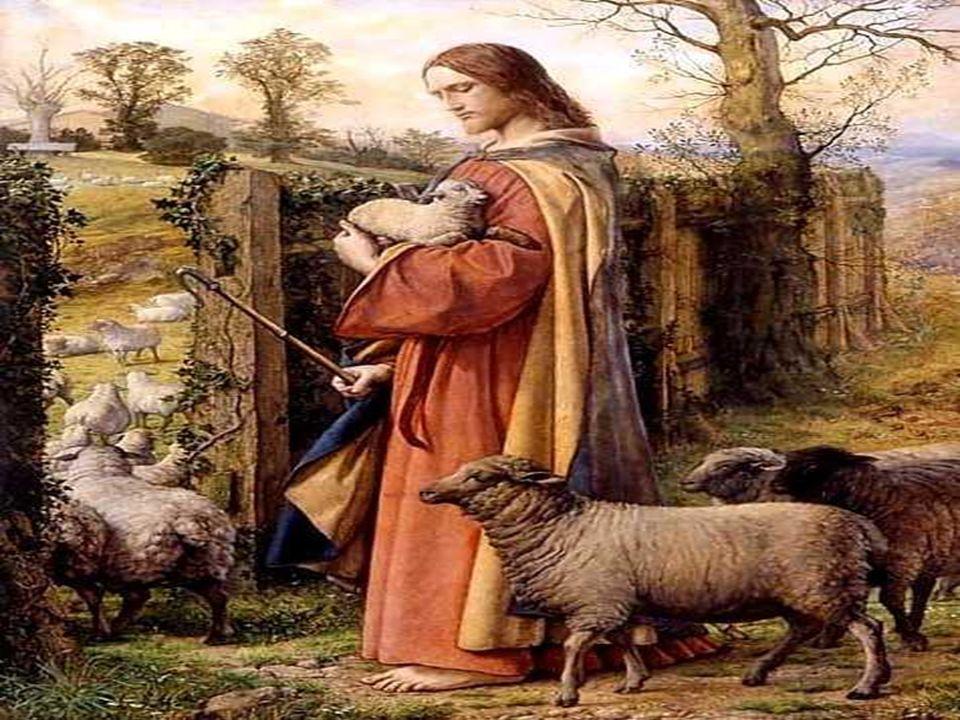 1. En la primera parte, aparece la figura del Buen Pastor, en una actitud de ternura con las ovejas... Él las conoce, las llama por su nombre, camina