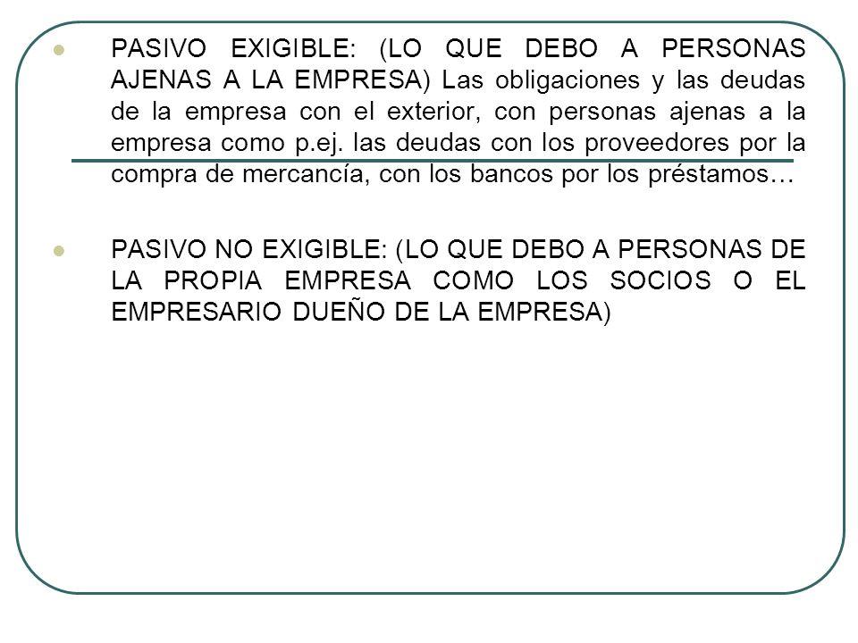 PASIVO EXIGIBLE: (LO QUE DEBO A PERSONAS AJENAS A LA EMPRESA) Las obligaciones y las deudas de la empresa con el exterior, con personas ajenas a la em