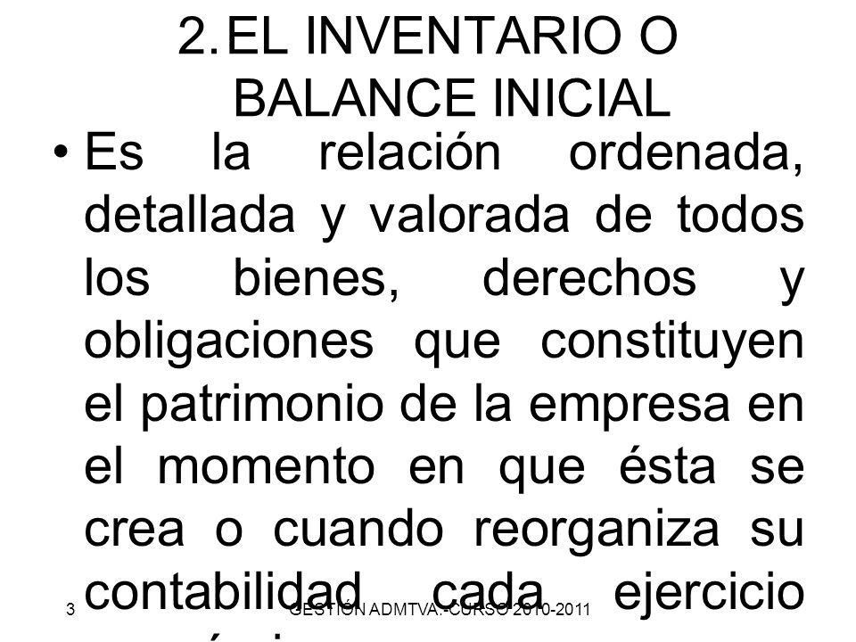 2.EL INVENTARIO O BALANCE INICIAL Es la relación ordenada, detallada y valorada de todos los bienes, derechos y obligaciones que constituyen el patrim