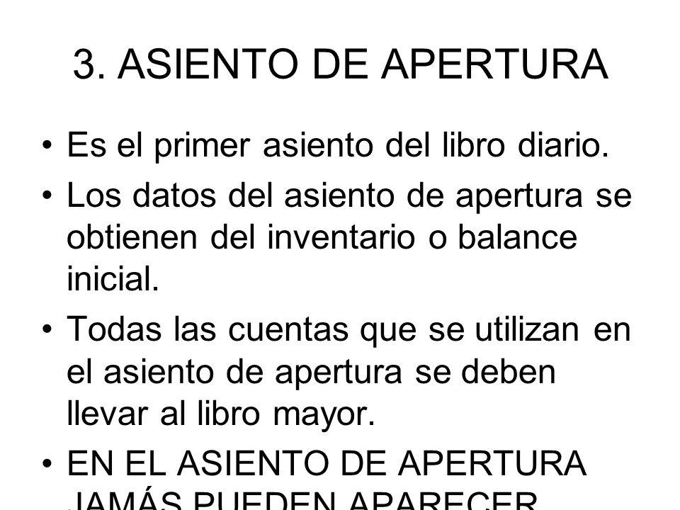 3.ASIENTO DE APERTURA Es el primer asiento del libro diario. Los datos del asiento de apertura se obtienen del inventario o balance inicial. Todas las