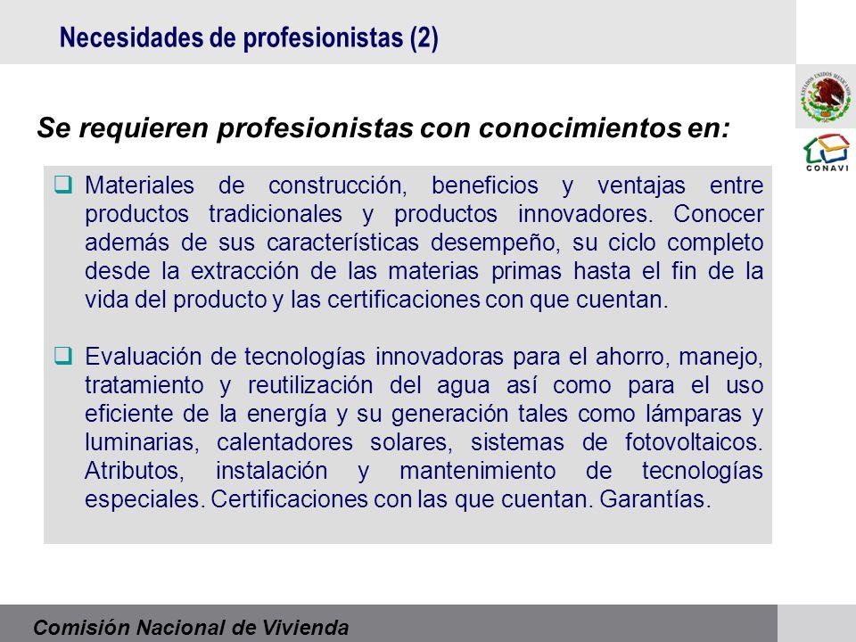 Comisión Nacional de Vivienda Materiales de construcción, beneficios y ventajas entre productos tradicionales y productos innovadores.