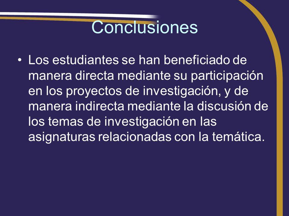 Conclusiones Los estudiantes se han beneficiado de manera directa mediante su participación en los proyectos de investigación, y de manera indirecta m