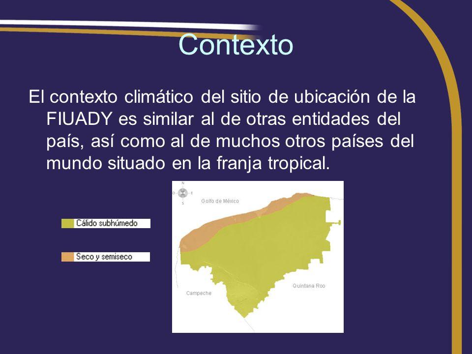 Contexto El contexto climático del sitio de ubicación de la FIUADY es similar al de otras entidades del país, así como al de muchos otros países del m