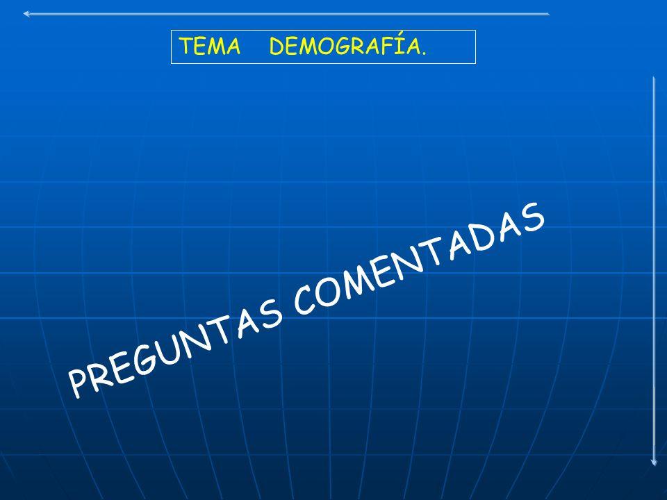 TEMA DEMOGRAFÍA. PREGUNTAS COMENTADAS
