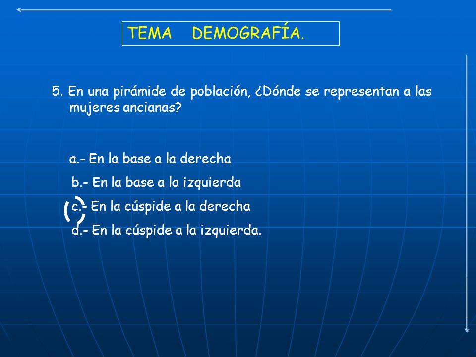 TEMA DEMOGRAFÍA. 5. En una pirámide de población, ¿Dónde se representan a las mujeres ancianas? a.- En la base a la derecha b.- En la base a la izquie