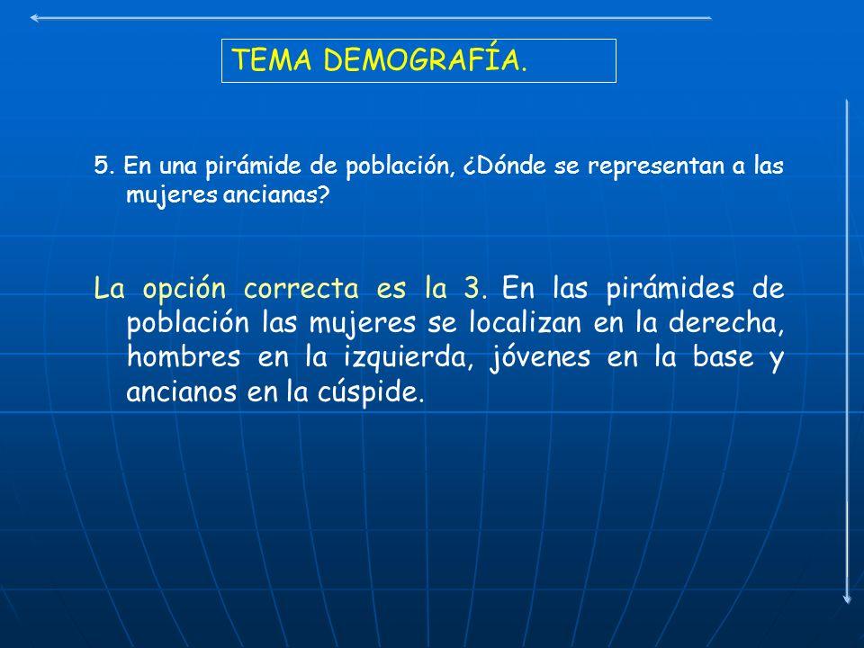 TEMA DEMOGRAFÍA. 5. En una pirámide de población, ¿Dónde se representan a las mujeres ancianas? La opción correcta es la 3. En las pirámides de poblac