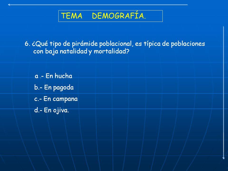 TEMA DEMOGRAFÍA. 6. ¿Qué tipo de pirámide poblacional, es típica de poblaciones con baja natalidad y mortalidad? a. - En hucha b.- En pagoda c.- En ca