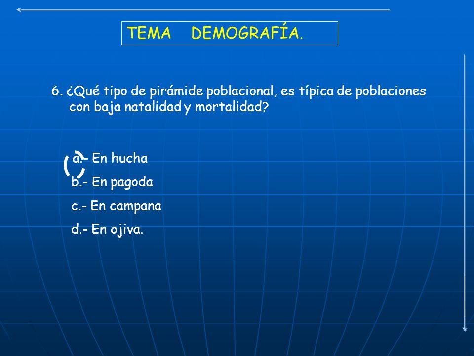 TEMA DEMOGRAFÍA. 6. ¿Qué tipo de pirámide poblacional, es típica de poblaciones con baja natalidad y mortalidad? a.- En hucha b.- En pagoda c.- En cam
