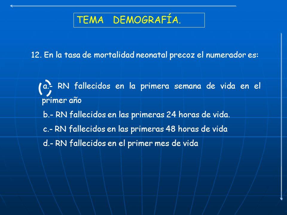 TEMA DEMOGRAFÍA. 12. En la tasa de mortalidad neonatal precoz el numerador es: a.- RN fallecidos en la primera semana de vida en el primer año b.- RN