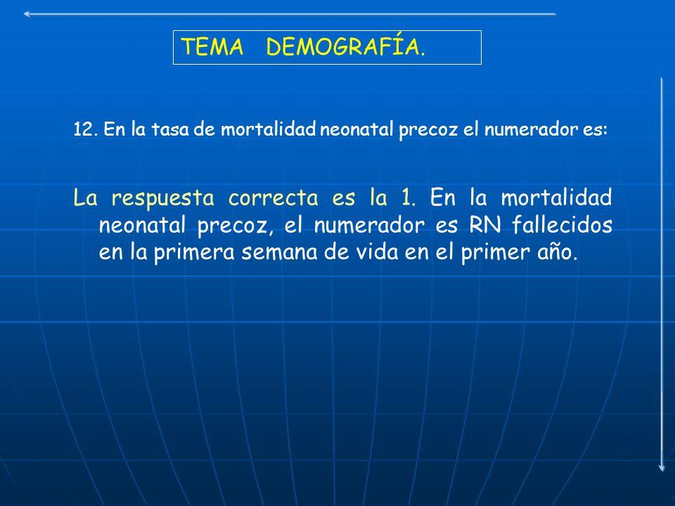 TEMA DEMOGRAFÍA. 12. En la tasa de mortalidad neonatal precoz el numerador es: La respuesta correcta es la 1. En la mortalidad neonatal precoz, el num