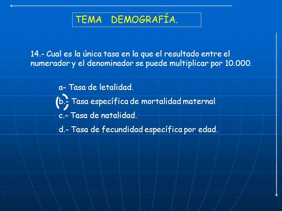 TEMA DEMOGRAFÍA. 14.- Cual es la única tasa en la que el resultado entre el numerador y el denominador se puede multiplicar por 10.000. a- Tasa de let