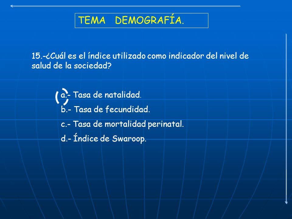 TEMA DEMOGRAFÍA. 15.-¿Cuál es el índice utilizado como indicador del nivel de salud de la sociedad? a.- Tasa de natalidad. b.- Tasa de fecundidad. c.-