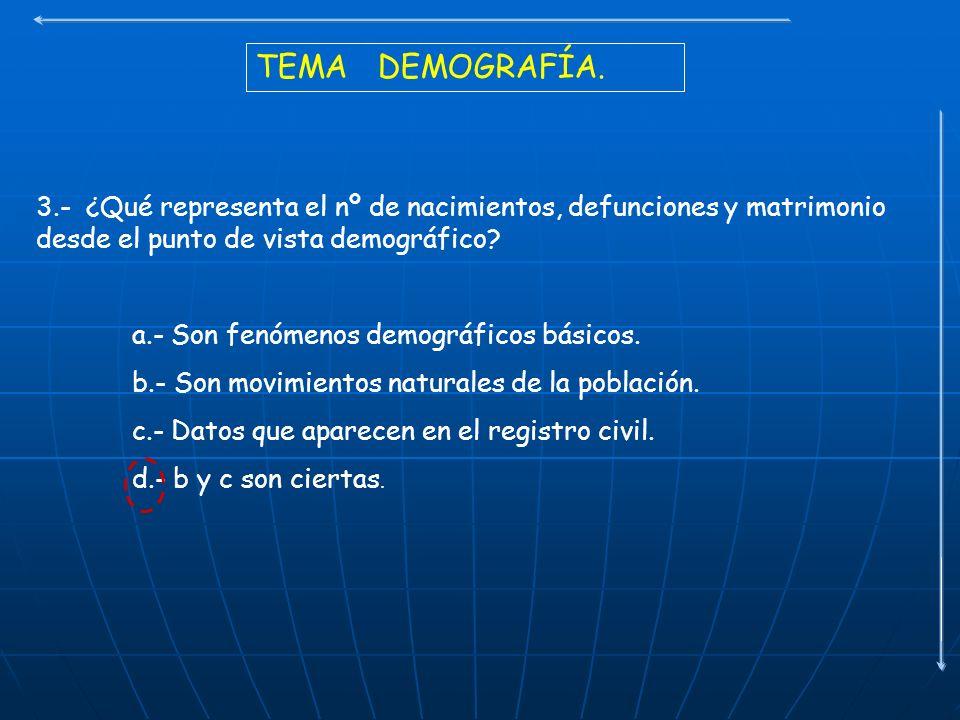 TEMA DEMOGRAFÍA. 3.- ¿Qué representa el nº de nacimientos, defunciones y matrimonio desde el punto de vista demográfico? a.- Son fenómenos demográfico