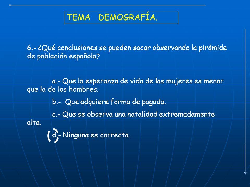 TEMA DEMOGRAFÍA. 6.- ¿Qué conclusiones se pueden sacar observando la pirámide de población española? a.- Que la esperanza de vida de las mujeres es me