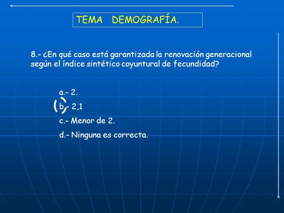 TEMA DEMOGRAFÍA. 8.- ¿En qué caso está garantizada la renovación generacional según el índice sintético coyuntural de fecundidad? a.- 2. b.- 2,1 c.- M