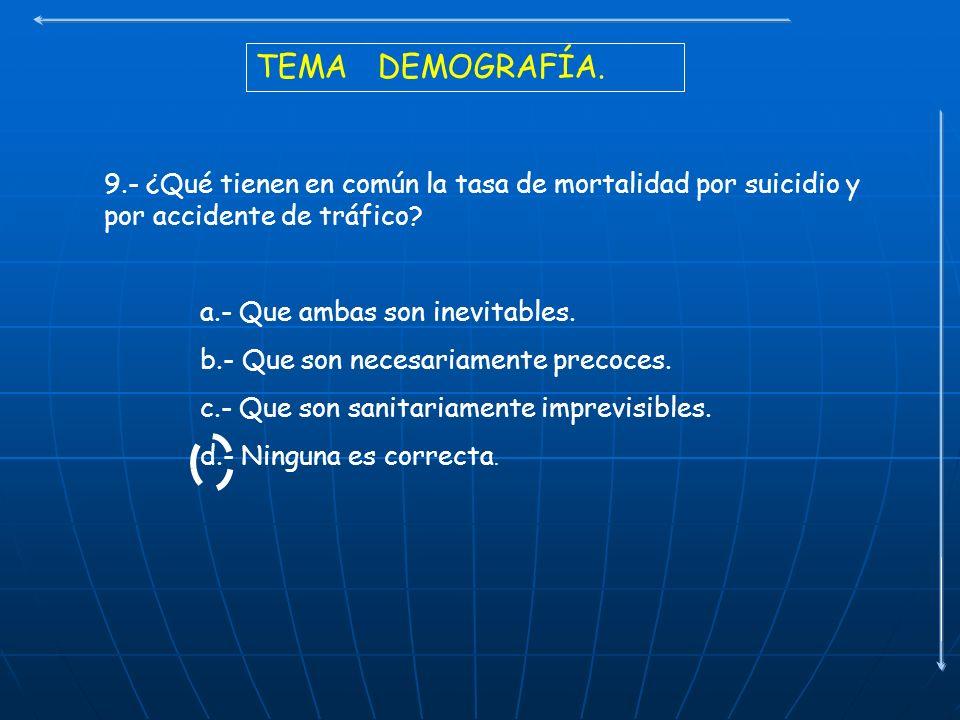 TEMA DEMOGRAFÍA. 9.- ¿Qué tienen en común la tasa de mortalidad por suicidio y por accidente de tráfico? a.- Que ambas son inevitables. b.- Que son ne