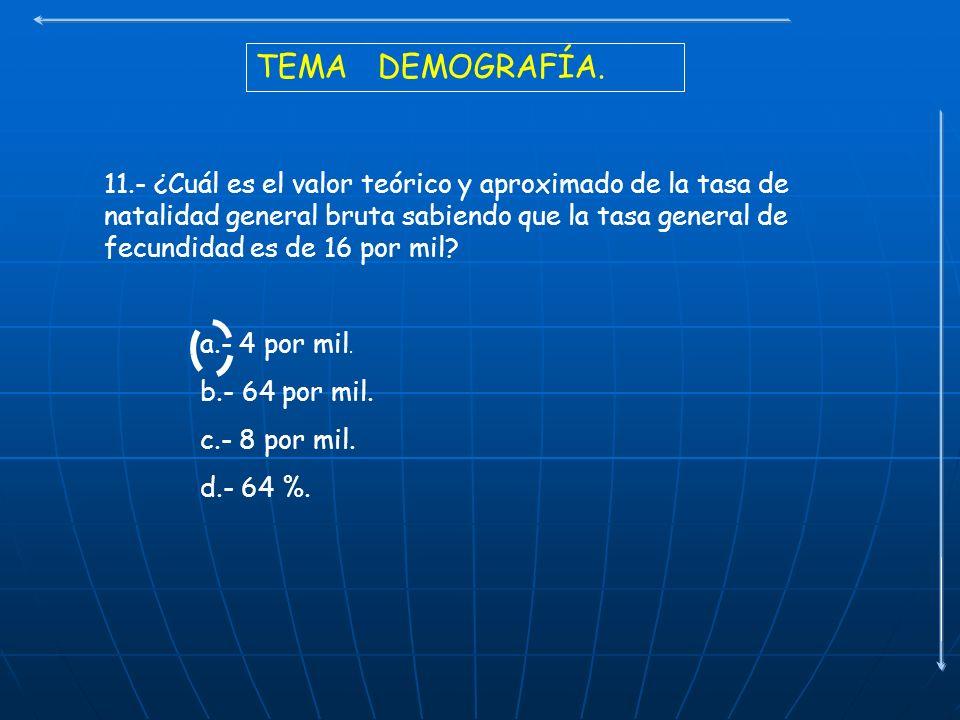 TEMA DEMOGRAFÍA. 11.- ¿Cuál es el valor teórico y aproximado de la tasa de natalidad general bruta sabiendo que la tasa general de fecundidad es de 16