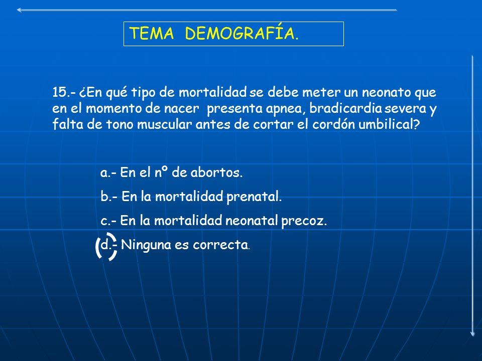 TEMA DEMOGRAFÍA. 15.- ¿En qué tipo de mortalidad se debe meter un neonato que en el momento de nacer presenta apnea, bradicardia severa y falta de ton