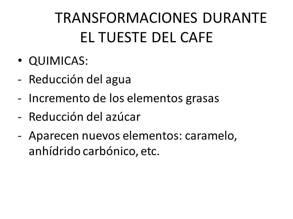 TRANSFORMACIONES DURANTE EL TUESTE DEL CAFE QUIMICAS: -Reducción del agua -Incremento de los elementos grasas -Reducción del azúcar -Aparecen nuevos e