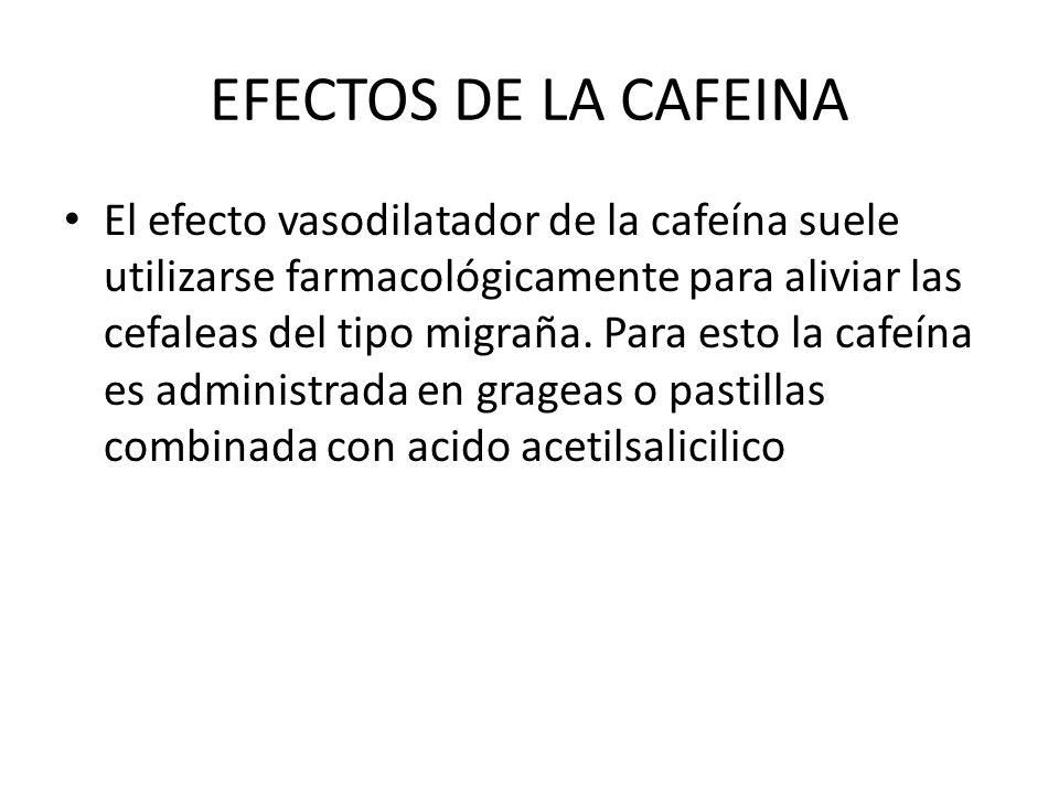 EFECTOS DE LA CAFEINA El efecto vasodilatador de la cafeína suele utilizarse farmacológicamente para aliviar las cefaleas del tipo migraña. Para esto