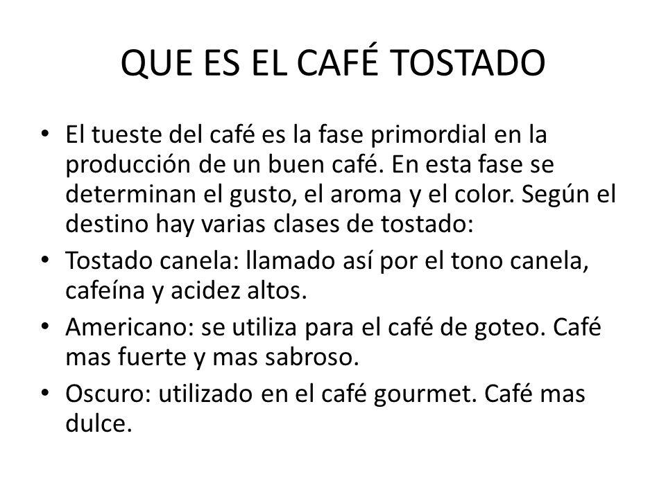 QUE ES EL CAFÉ TOSTADO El tueste del café es la fase primordial en la producción de un buen café. En esta fase se determinan el gusto, el aroma y el c