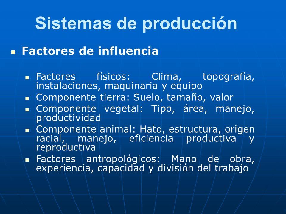 Sistemas de producción Factores de influencia Factores físicos: Clima, topografía, instalaciones, maquinaria y equipo Componente tierra: Suelo, tamaño