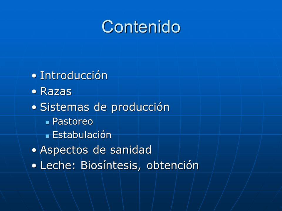 Contenido IntroducciónIntroducción RazasRazas Sistemas de producciónSistemas de producción Pastoreo Pastoreo Estabulación Estabulación Aspectos de sanidadAspectos de sanidad Leche: Biosíntesis, obtenciónLeche: Biosíntesis, obtención