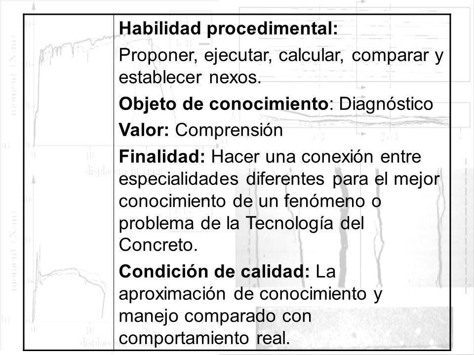 Habilidad procedimental: Proponer, ejecutar, calcular, comparar y establecer nexos. Objeto de conocimiento: Diagnóstico Valor: Comprensión Finalidad: