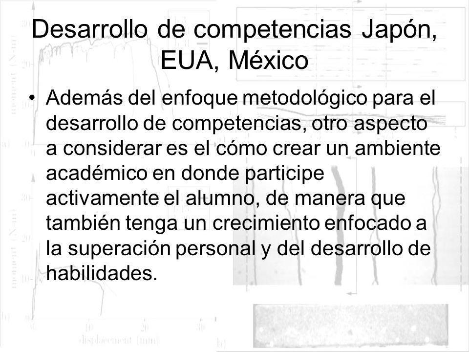 Desarrollo de competencias Japón, EUA, México Además del enfoque metodológico para el desarrollo de competencias, otro aspecto a considerar es el cómo