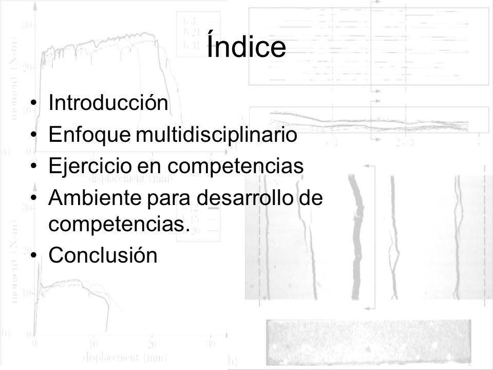 Índice Introducción Enfoque multidisciplinario Ejercicio en competencias Ambiente para desarrollo de competencias. Conclusión