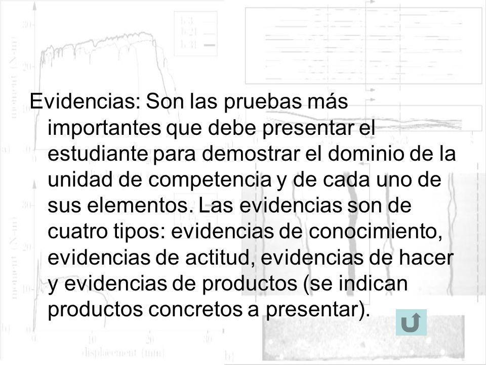 Evidencias: Son las pruebas más importantes que debe presentar el estudiante para demostrar el dominio de la unidad de competencia y de cada uno de su