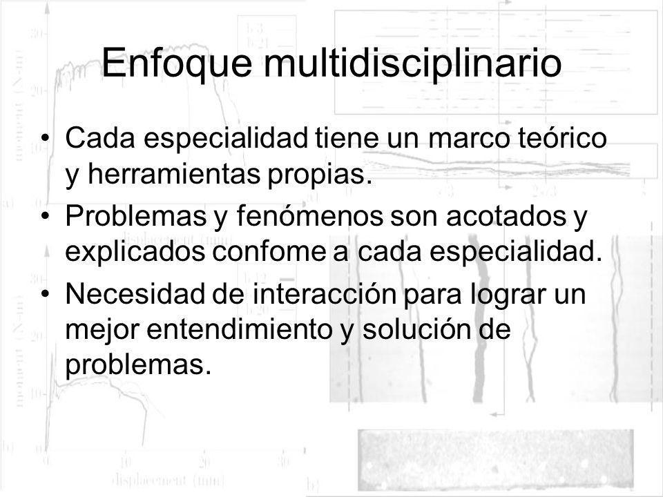 Enfoque multidisciplinario Cada especialidad tiene un marco teórico y herramientas propias. Problemas y fenómenos son acotados y explicados confome a
