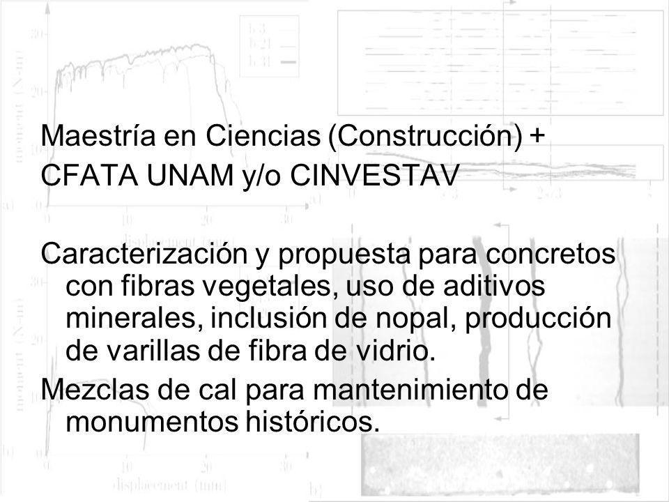 Maestría en Ciencias (Construcción) + CFATA UNAM y/o CINVESTAV Caracterización y propuesta para concretos con fibras vegetales, uso de aditivos minera