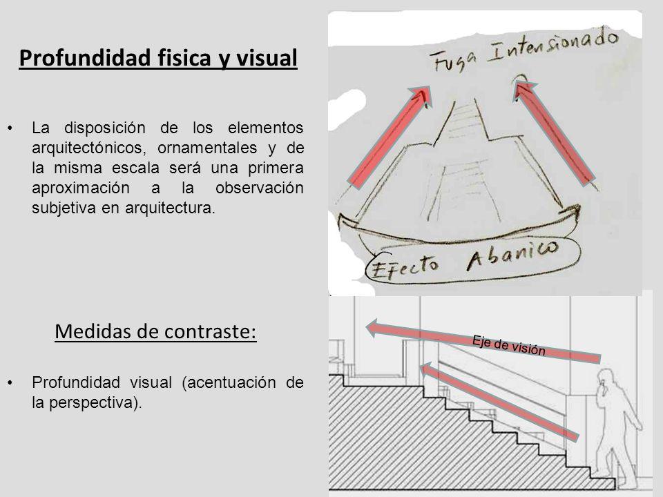 Profundidad fisica y visual La disposición de los elementos arquitectónicos, ornamentales y de la misma escala será una primera aproximación a la obse