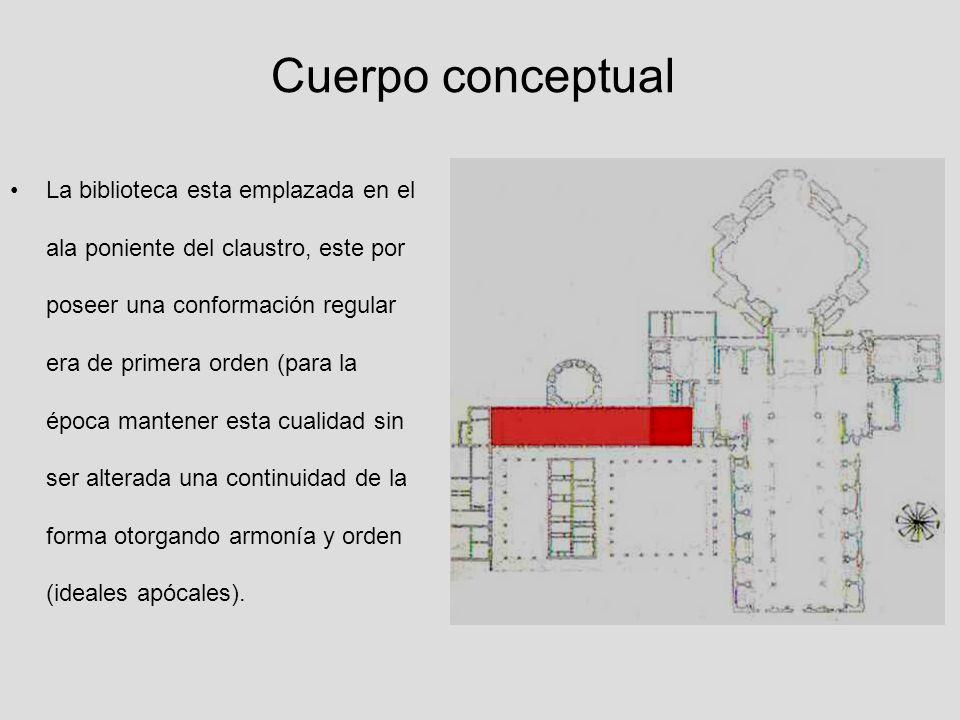 Cuerpo conceptual La biblioteca esta emplazada en el ala poniente del claustro, este por poseer una conformación regular era de primera orden (para la